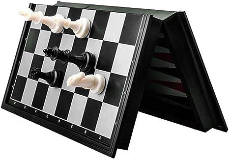 OhLt-j Juego de ajedrez 3 en 1 Damas Backgammon Plástico de viaje Piezas de ajedrez magnéticas Regalo de tablero de ajedrez plegable (Color: Negro Blanco, Tamaño: 25 * 25 * 2 Cm) (Size : 32*32*2cm) : Amazon.es: Hogar