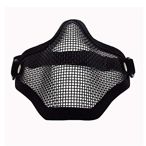 Airsoft Half Face Mask Foldable Comfortable Lower Face Tactical Wire Steel Metal Net Mesh Protective Mask for with Outdoor Airsoft BK, CS War Game, BB Gun, Hunting, Paintball (Black)
