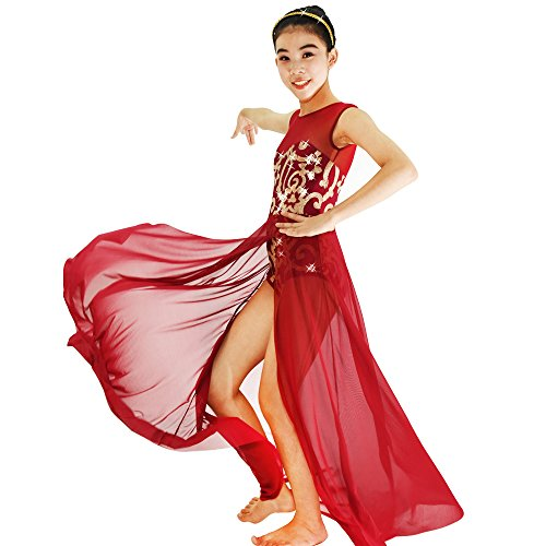 MiDee Lyrical Dress Dance Costume 4 Colors Floral Sequin Tank Leotard Maxi Skirt (LC, (Tap Dance Costumes Children)