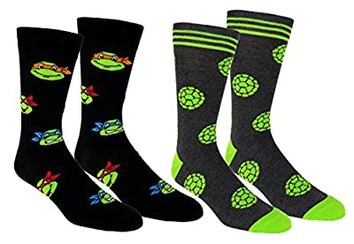 Teenage Mutant Ninja Turtles Casual Crew Socks 2 Pair Pack Multi Color