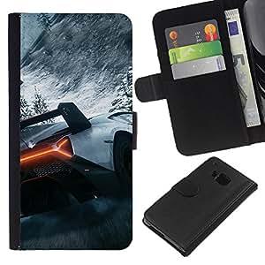 Planetar® Modelo colorido cuero carpeta tirón caso cubierta piel Holster Funda protección Para HTC One M7 ( Coche de carreras de montañas de hielo Deportes de Nieve fresca )