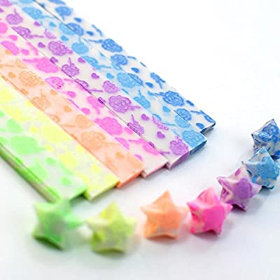 DadaCrafts(TM) 210 Sheets Glow in the dark Origami Star Paper in 7 Colors, Roses style