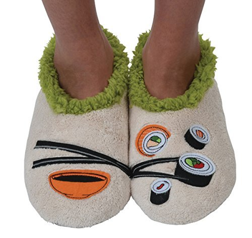 Snoozies Womens Classic Splitz Applique Non Skid Slipper Socks - Sushi, Medium