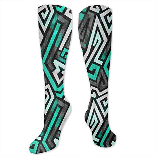 Unisex Socks Blue Maze Cute Funny Novelty Socks Casual High Socks