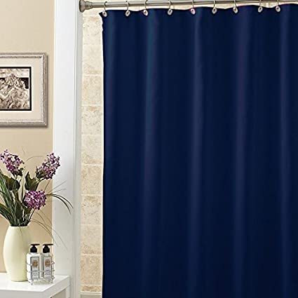 NEW SOLID WATER REPELLANT BATHROOM SHOWER CURTAIN LINER CLEAR ALL COLORS Navy