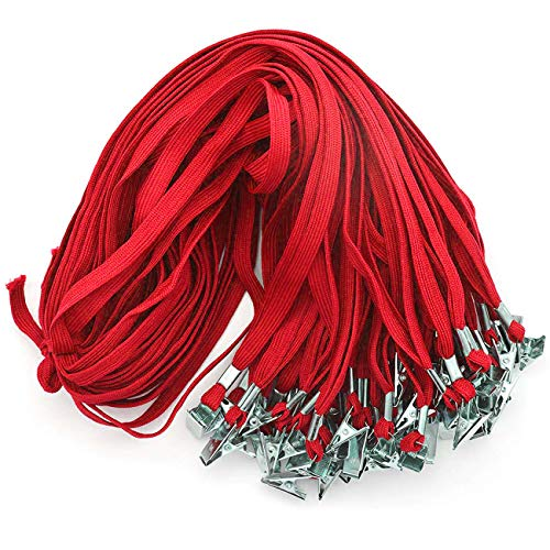 - BeebelTM 50PCS 32-Inch Flat Lanyards with Badge Clip (Red)