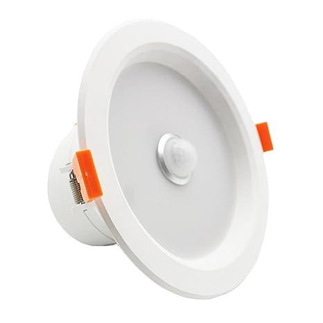 LEDIARY Luz LED descendente, 6 W; lámpara empotrada de techo, luz fría blanca, con sensor infrarrojo inducido por detección de movimiento.