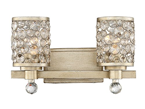 Collection Guilford (Bathroom Vanity 2 Light With Aurora Finish Metal/Glass E Bulb 16 inch 200 Watts)