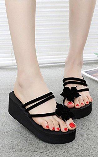 Shoes Platform Sandals Slipper C Flip Pioneer Women Summer Flops Heel Girls Flowers with Beach Wedges Black High tP1AOqRPw