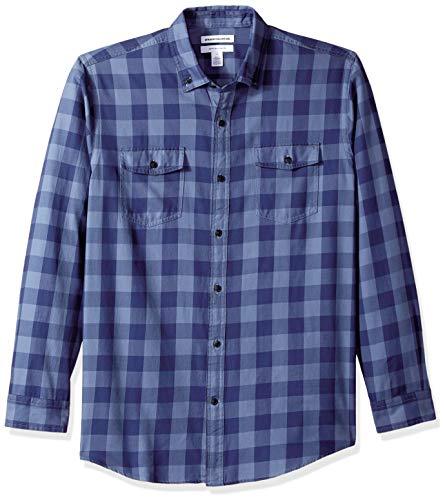 Amazon Essentials Men's Regular-Fit Long-Sleeve Two-Pocket Twill Shirt, Navy Buffalo, X-Large