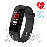 The perseids Fitness Tracker, Activity Tracker Watch with Heart Rate Monitor, Color Screen Waterproof Smart Bracelet with Calories Counter, Step Counter, Pedometer Watch for Kids Women Men