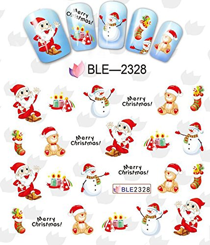 Noël autocollant stickers décalques à l'eau pour la décoration des bouts d'ongles BLE2328 Nail Xmas Sticker Tattoo - FashionLife