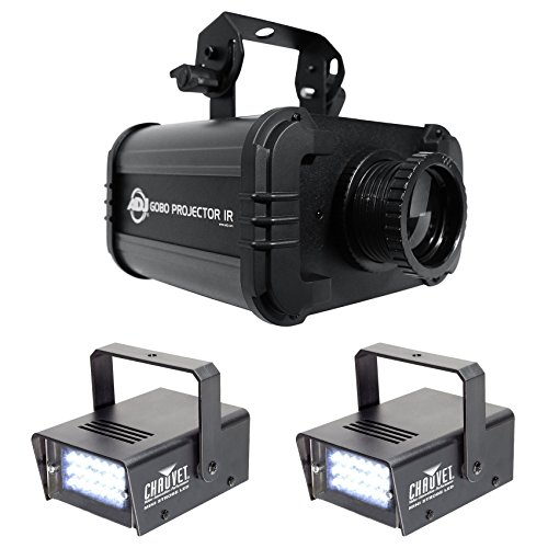 Package: American DJ ADJ GOBO PROJECTOR IR LED Light With IR Remote, 4 Colors, 4 Patterns, Low Heat Output, and Long Lasting LED's + (2) Chauvet DJ MINI STROBE LED Compact Easy-to-use Strobe Lights (Panel Color Chauvet)