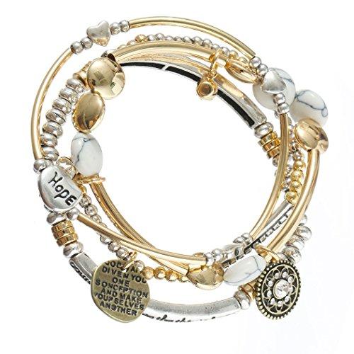 HUIMEI 1Set 4 Pcs Handmade Cuff Weaving Beads Roud Resin Rhinestone Pendant Stretch Bracelets (Cuff White Pendant)