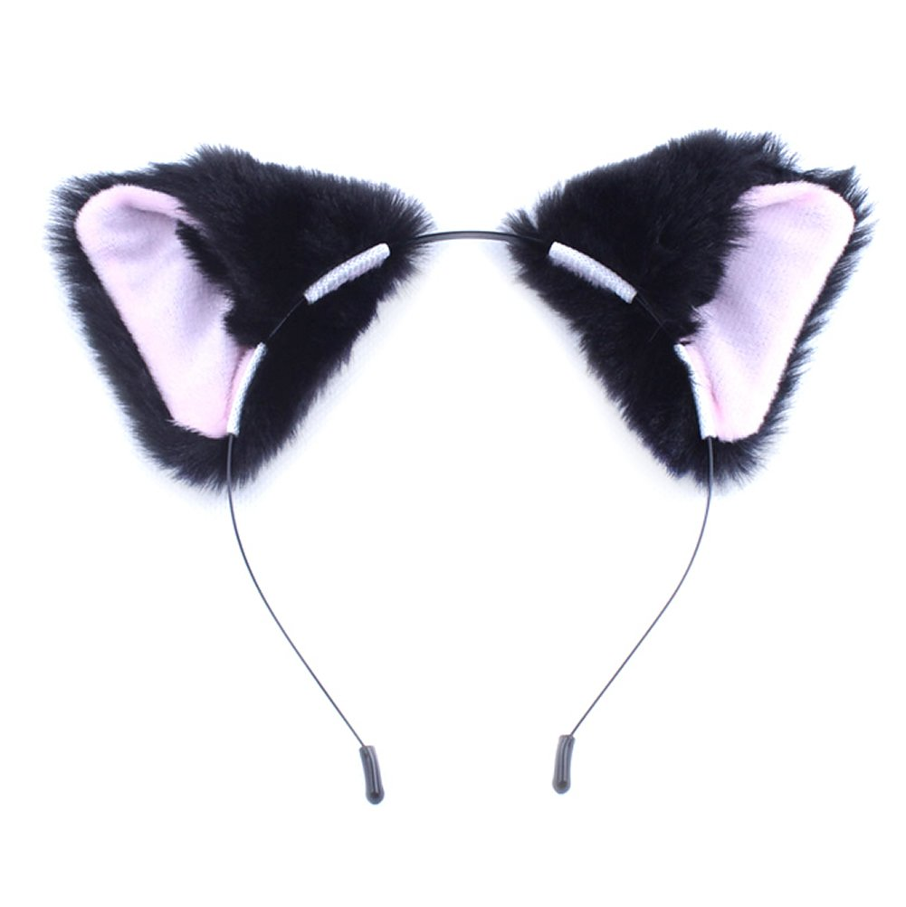 MEXUD Orecchiette Party's Cat Fox Long Fur Ears Anime Neko Costume Hair Clip for Cosplay (Black&Pink)