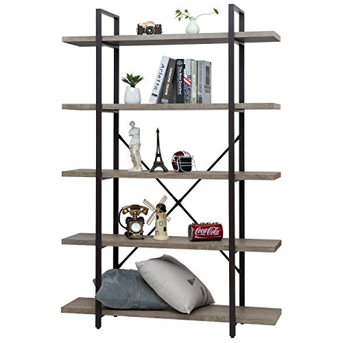 age Bookcase Industrial Bookshelf, Grain Wood and Metal Shelves Furniture (5 Tier) (Home Office 5 Tier Bookshelf)