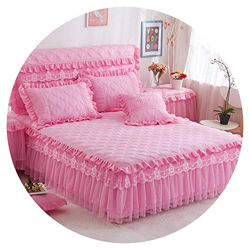 Bedding Set Princess Style Thick Cotton Bedspreads and Pillowcases Single Queen King Size Bed Cover for Girl Room Decorative,Pink,120x200 A Pillowcase