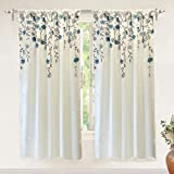 """DriftAway Isabella Faux Silk Embroidered Window Curtain, Embroidered Crafted Flower, Lined with Thermal Fabric, Single Panel, 50""""x63"""" (Ivory/Blue) For Sale"""