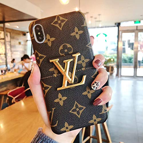(iPhone Xs Max Case, Luxury Metal Logo Monogram Leather Case for iPhone Xs Max)