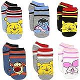 Winnie the Pooh Girls 6 pack Socks (4-6 (Shoe: 7-10), Winnie Blue/Grey)