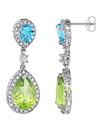10K White Gold Natural Peridot & Swiss Blue Topaz Teardrop Earrings White Sapphire & Diamond