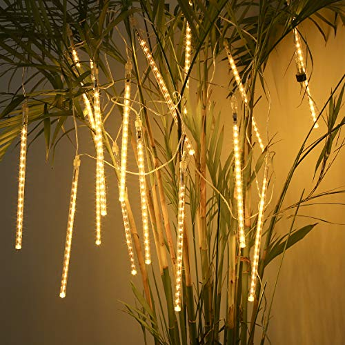 ECOWHO Meteor Shower Lights, Connectable LED Falling Rain Drop Romantic Christmas Lights for Party, Wedding, Halloween, etc. 16ft 8 Tubes(Warm - Party Halloween Lights String