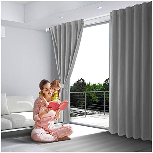 Blackout Curtains, Room Darkening Thermal Insulated Rod Pocket Blackout Window Drapes for Bedroom/living Room, (2Panels, 52 x 63 Inch, Grey)