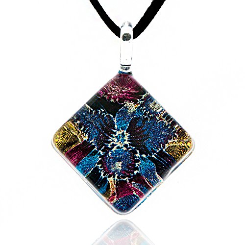Chuvora Hand Blown Venetian Murano Glass Blue Orchid Flower Square Pendant Necklace, 17-19 inches