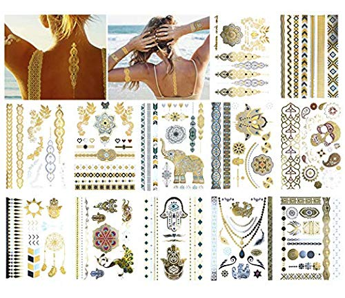 12 Sheets Metallic Temporary Tattoos Gold Jewelry Tattoo, 100+ Boho Waterproof Flash Fake Tattoo Sticker Designs for Women Girls - Bracelets, Necklace, Wrist and Arm Bands