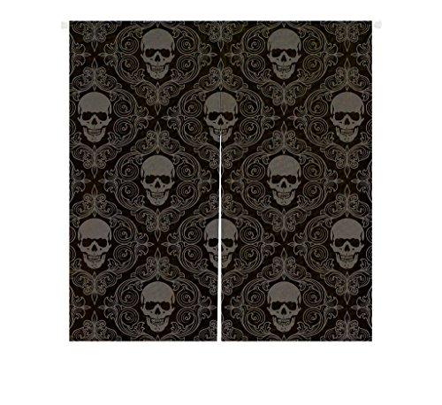 Custom Dark Balck World Skull With Lacy Pattern Window Door