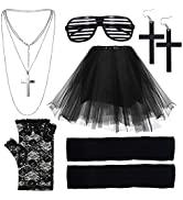 EuTengHao 80s Women's Costume Outfit Accessories Set Includes Tutu Skirt Stripe Glasses Lace Glov...