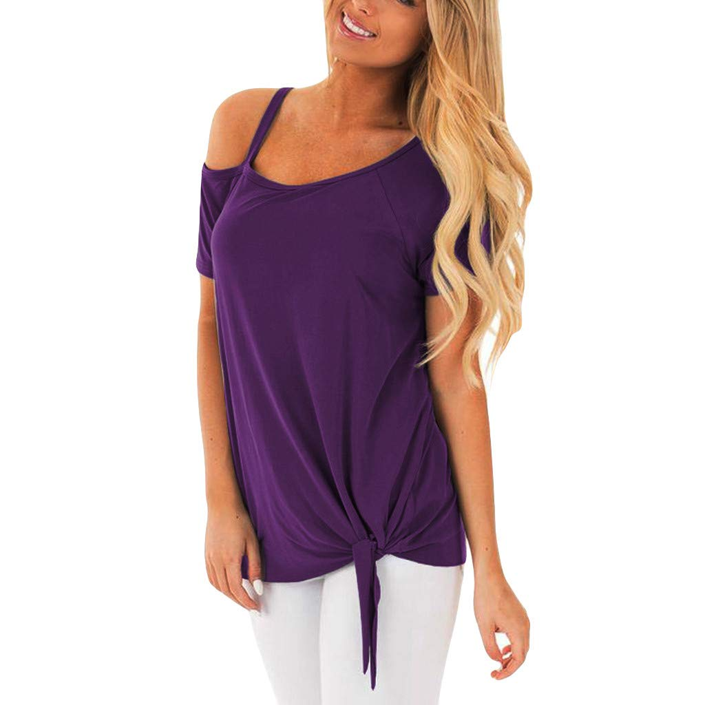 ZOMUSAR 2019 Ladies T-Shirt, Women Fashion Casual Strapless Solid Short Sleeve Knot T-Shirt Top Blouses Purple