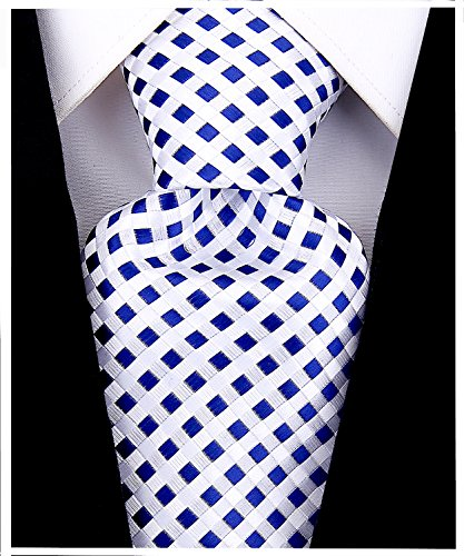 Necktie Silk Ties Logo (Checkerboard Ties for Men - Woven Necktie - Navy Blue)