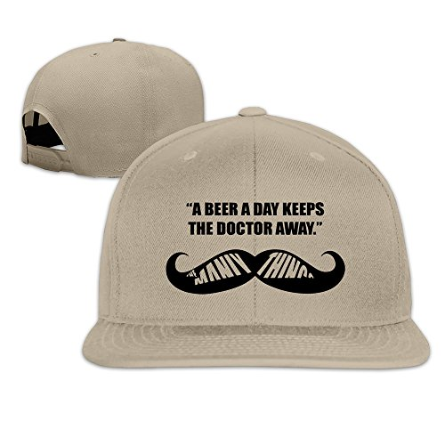 BASEE A Beer A Day Keep The Doctor Away Adjustable Flat Along Baseball Cap Natural (A Beer A Day Keeps The Doctor Away)