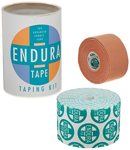 Endura Support - Sammons Preston Endura-Tape Taping Kit, Prewrap Athletic Tape for Sports, Waterproof KT Tape, Rigid Kinesiology Tape for Muscles, White Cloth K Tape, Latex Free Kinesio Tape, Support & Recovery Tape