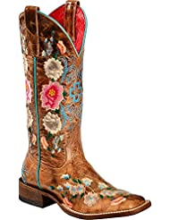Macie Bean Ladies Square Toe Honey Floral Boots