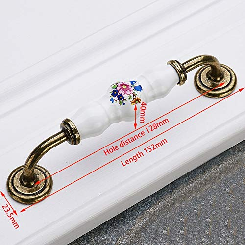 Best Quality - Cabinet Pulls - Antique Bronze Ceramic Cabinet Handles Zinc Alloy Drawer Knobs Wardrobe Door Handles Morning Glory European Furniture Handle - by HIBISCUS. - 1 PCs