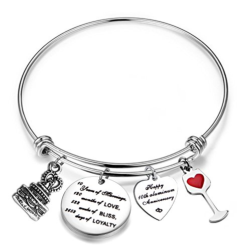 FEELMEM for Her Adjustable Wedding Anniversary Bracelet Bangle with Anniversary Cake Charm,1th 10th 25th 30th Bangle Gift (10th)