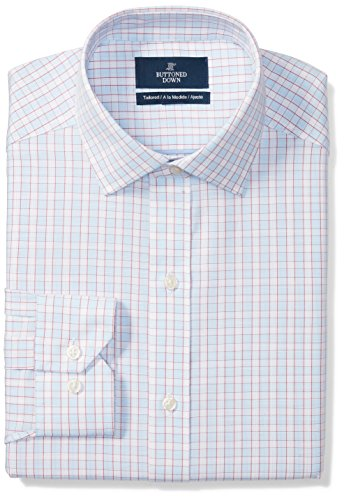 - BUTTONED DOWN Men's Tailored Fit Spread-Collar Pattern Non-Iron Dress Shirt, Light Blue/Orange Tattersall Check, 15