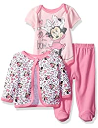 Baby Girls' Minnie Mouse 3-Piece Bodysuit, Footed Pant, and Jacket Set
