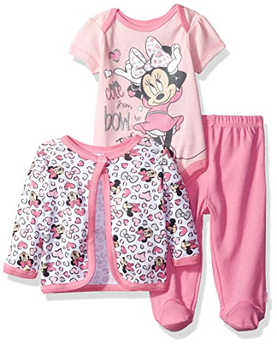 Disney Baby Girls' Minnie Mouse 3-Piece Bodysuit, Footed Pant, and Jacket Set, Pink, 6-9 Months