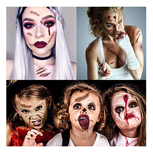 Scary Halloween Makeup Mouth (Garma Halloween Scary Temporary Tattoo - Fake Bleeding Wound Scar Blood Spider Knife Stickers 292 PCS for Halloween Cosplay)