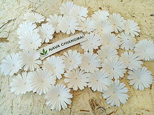 NAVA CHIANGMAI 100 White Mulberry Daisy Paper Flowers Scrapbooking Embellishment by NAVA CHIANGMAI FLOWERS