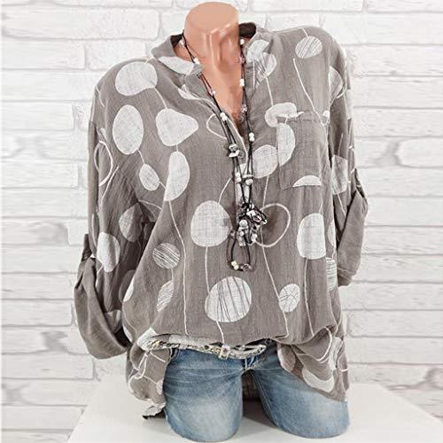 80d906ce7e TANGSen Women Plus Size Casual Dot Print Top Ladies Summer Fashion Long  Sleeve Blouse Loose Shirt Tops Khaki