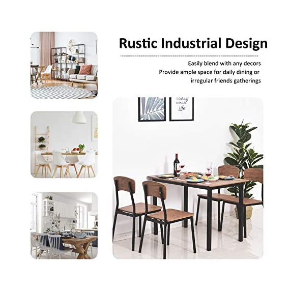 HOMCOM 5 Piece Modern Counter Height Dining Table and Chairs Set - ✅CONTEMPORARY CLASSIC DESIGN: Our modern industrial table and chair set combines simplicity and practicality to fit in no matter what style your dining room or kitchen is. ✅5 PIECE STACKABLE DINING SET: This dining set consists of a dining table and four matching chairs so the whole family can gather around and is ideal for apartments or small spaces because of its compact size. Stackable design occupy little space when not to use. ✅VERSATILE USE: The dining chairs can be used as bar stools or as additional seating for high countertops with high backrests that provide support. - kitchen-dining-room-furniture, kitchen-dining-room, dining-sets - 5185Nmo%2B6rL. SS570  -