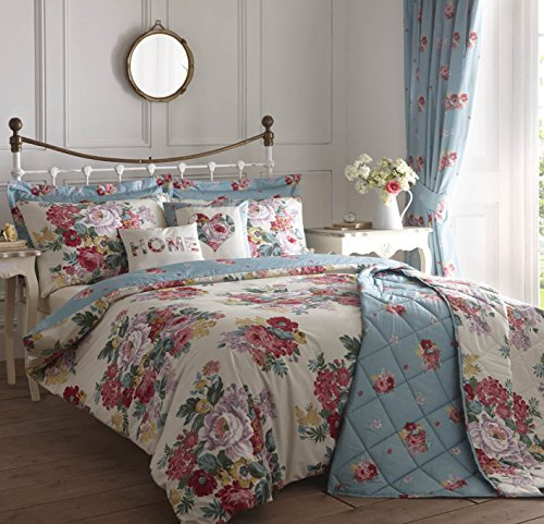 DUCK EGG BLUE WHITE RED PINK FLORAL REVERSIBLE USA FULL (200CM X 200CM - UK DOUBLE) COTTON BLEND COMFORTER COVER