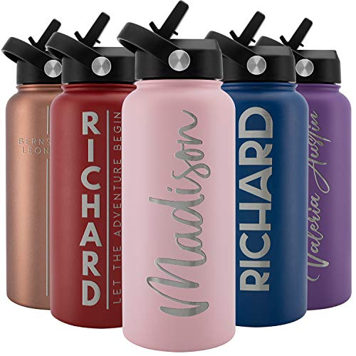 Amazing Items Personalized Water Bottle with Straw Lid, 32 oz – Pink   Custom Stainless Steel Sports Water Bottle w/Name and Text – Double Wall + Vacuum Insulated – Rotating Handle