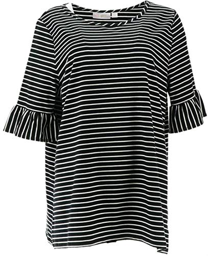 Belle Kim Gravel TripleLuxe Knit Skinny Striped Top Black M New A347141 from Belle by Kim Gravel