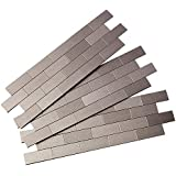 "Aspect A95-50 Peel and Stick Backsplash Subway Metal Tile for Kitchen and Bathrooms, 12.5"" x 4"", Stainless Matted"