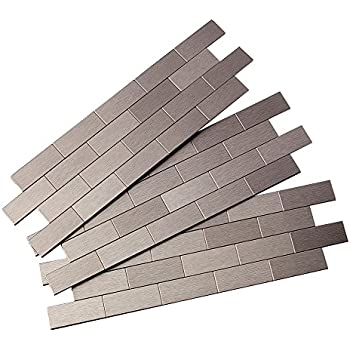 aspect peel and stick backsplash 125in x 4in subway stainless matted metal tile for kitchen